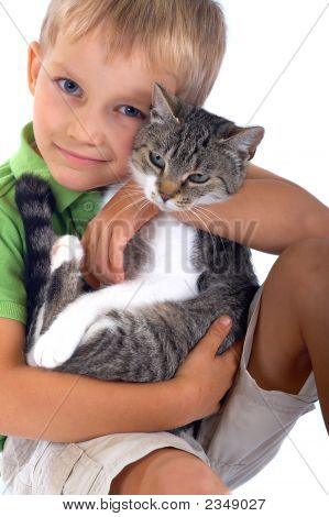 Young Boy With Cat
