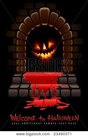 halloween terrible door bloody entrance and glowing face vector illustration