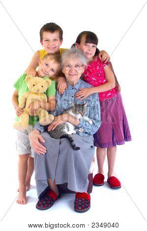 Happy Granny And Children