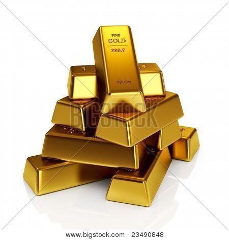 Gold bars 3d concept