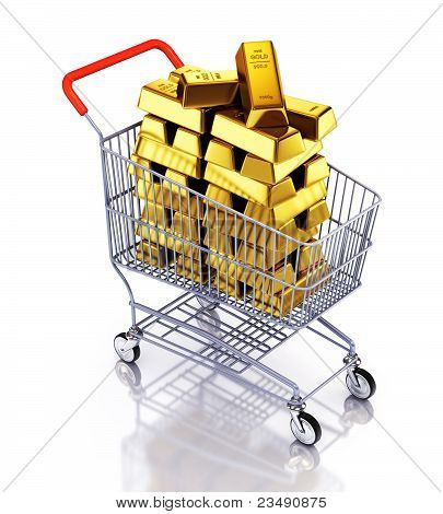 Gold bars in shopping cart