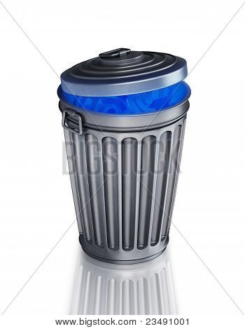 Full metallic trash can