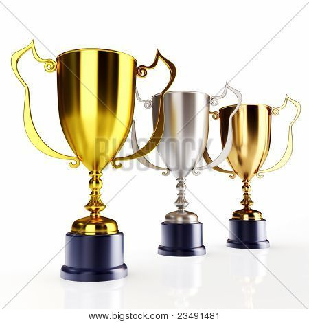 Gold silver and bronze trophy's (3d render)