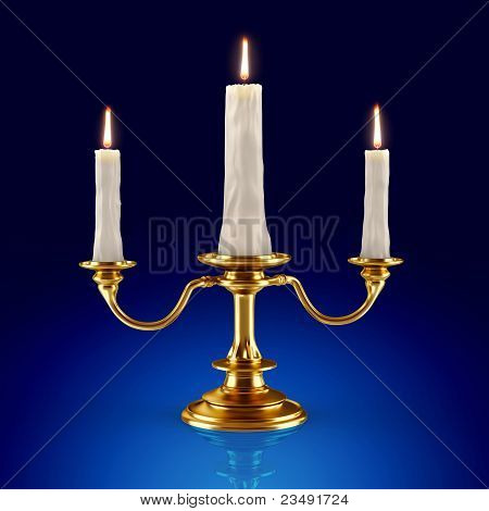 Golden candleholder which burning candles (3d render)