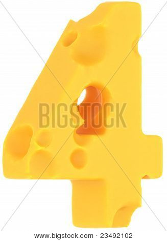Cheeze Font 4 Number Isolated On White
