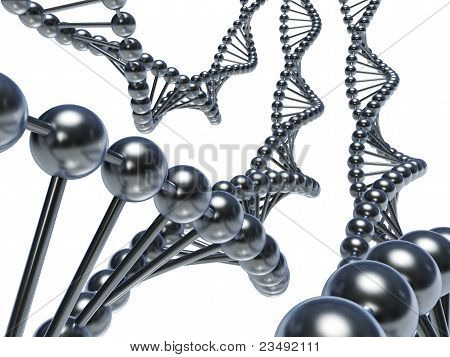 DNA chains (3d render)