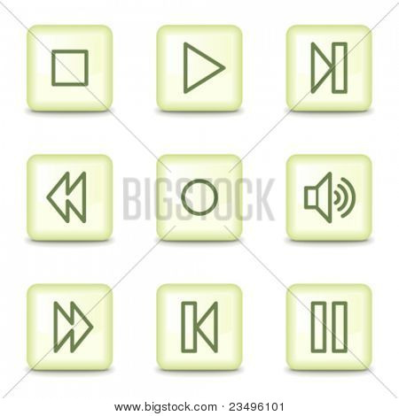 Walkman web icons, salad green buttons