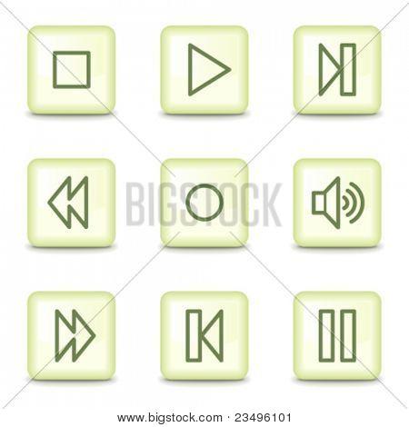 Walkman web icons, salad green buttons