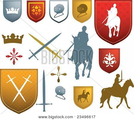 shields, swords, horses and other styles of tudor or elizabethan style old designs