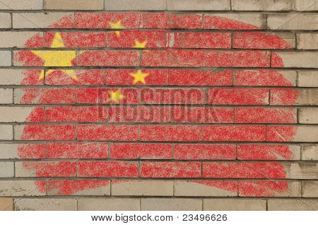 Flag Of China On Grunge Brick Wall Painted With Chalk