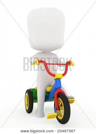 3D Illustration of a Kid Riding a Trike