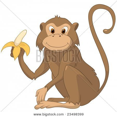 Cartoon Character Monkey Isolated on White Background. Vector.