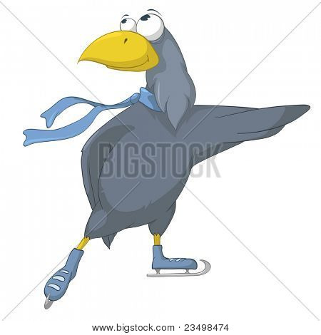 Cartoon Character Bird Isolated on White Background. Vector.