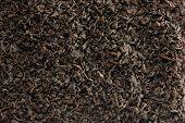 Dark Loose Leaf Tea Background, Black Golden Leaves Blend Texture Pattern Closeup Detail, Horizontal poster