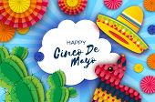 Happy Cinco De Mayo Greeting Card. Colorful Paper Fan, Funny Pinata And Cactus In Paper Cut Style. O poster