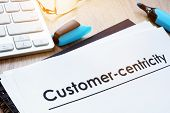 Customer In Focus Concept. Papers About Customer-centricity. poster