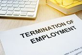 Termination Of Employment On An Office Desk. poster