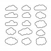 Set Of Blue Sky, Clouds. Cloud Icon, Cloud Shape. Set Of Different Clouds. Collection Of Cloud Icon, poster