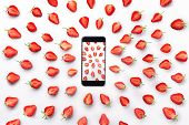 Strawberry Fresh Berries Picture In Smart Phone Isolated On White Background, Directed Strawberries  poster