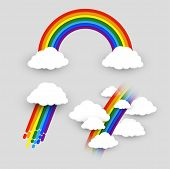Colorful Rainbow With Clouds Vector Set. Isolated Rainbow And Clouds, Colour Rain, Rainbow In The Sk poster