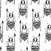 Seamless Pattern With Angry Killer Bees. Soldier Bee With Pike. Killer Bees Army. Vector Background poster