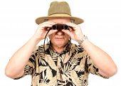 Tourist With Binoculars poster