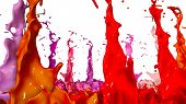 Paints Dance On White Background. Simulation Of 3d Splashes Of Ink On A Musical Speaker That Play Mu poster