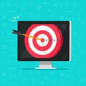Target Aim With Arrow In Bullseye On Computer Display Vector, Concept Of Success Business Goal, Digi poster