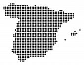 Dotted Spain Map. Vector Mosaic Of Spain Map Organized Of Round Dots. Vector Geographic Map. poster