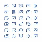 Conversation Message Shapes, Dialogue Speech Bubble Icons. Chatting Phone Vector Line Symbols. Chat  poster