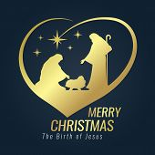 Merry Christmas Banner Gold Sign With Nightly Christmas Scenery Mary And Joseph In A Manger With Bab poster