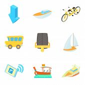 Movement Icons Set. Cartoon Set Of 9 Movement Vector Icons For Web Isolated On White Background poster