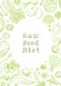 Raw Food Diet. Vegetarian Vintage Background With Natural Organic Products. Healthy Life. Vector Com poster