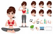 Beautiful Woman In Sport Outfit, Character Creation Set. Cheerful Fitness Girl, Pack Of Body Parts A poster