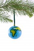 Globe Christmas Ornament Showing Africa And Europe poster