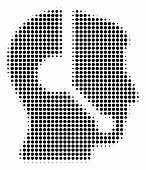 Call Center Operator Halftone Vector Icon. Illustration Style Is Dotted Iconic Call Center Operator  poster
