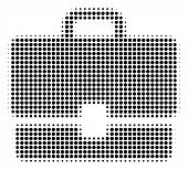 Case Halftone Vector Icon. Illustration Style Is Dotted Iconic Case Icon Symbol On A White Backgroun poster