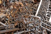 Scrap metal pile junk yard waste for recycling environment poster