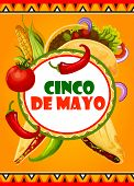 Cinco De Mayo Mexican Holiday Celebration Greeting Card Of Mexico Food Tacos, Jalapeno Pepper And Co poster