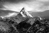 Mount Ama Dablam Within Clouds, Black And White View, Way To Everest Base Camp, Khumbu Valley, Sagar poster