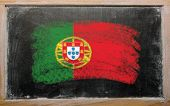 Flag Of Portugal On Blackboard Painted With Chalk