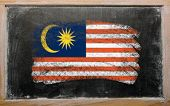 Flag Of Malaysia On Blackboard Painted With Chalk