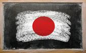 Flag Of Japan On Blackboard Painted With Chalk