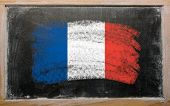 Flag Of France On Blackboard Painted With Chalk
