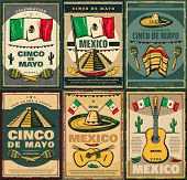 Cinco De Mayo Mexican Holiday And Viva Mexico Festive Poster. Latin American Fiesta Party Sombrero,  poster