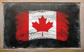 Flag Of Canada On Blackboard Painted With Chalk