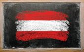 Flag Of Austria On Blackboard Painted With Chalk