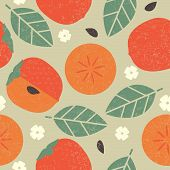 Seamless Pattern. Persimmon Juicy Fruits Leaves And Flowers On Shabby Background. poster