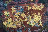 stock photo of annal  - war of ramayana on a wall in the Thai tample - JPG