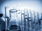 Different laboratory beakers and glassware. Monochrome. poster